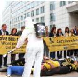 A simulated bee die-off. Hazmat suits are a better call to action for fundraising than blaming the incompetence of amateur beekeepers.