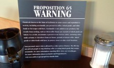 Proposition 65 warning at Starbucks