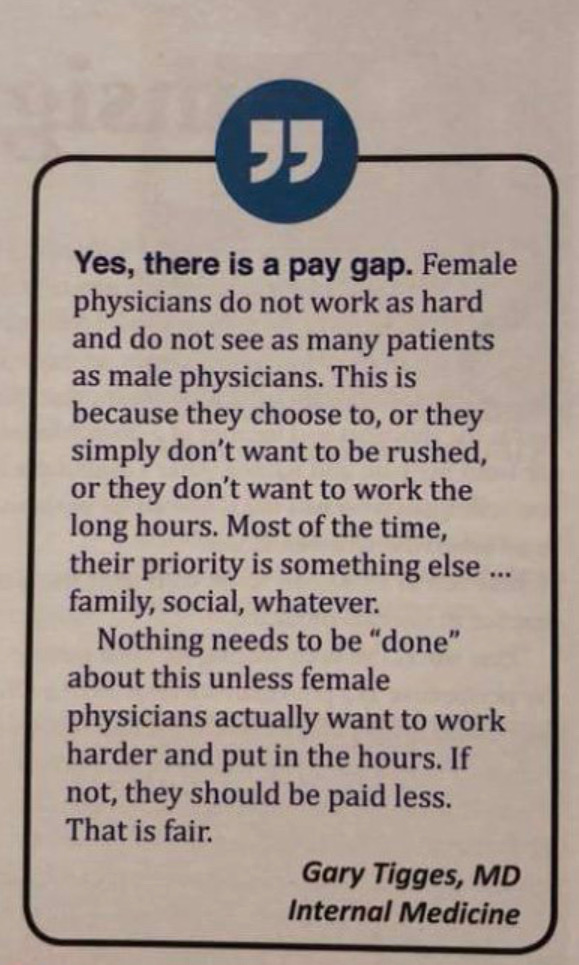 Thanks, Dr  Gary Tigges, For Saying 'Female Physicians Do