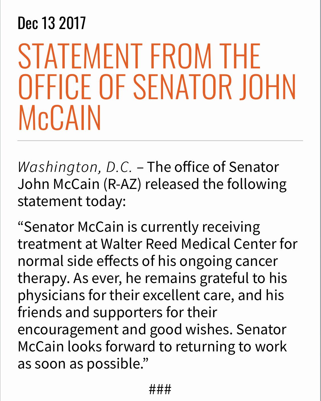 Sen  John McCain At Walter Reed Medical Center For 'Side