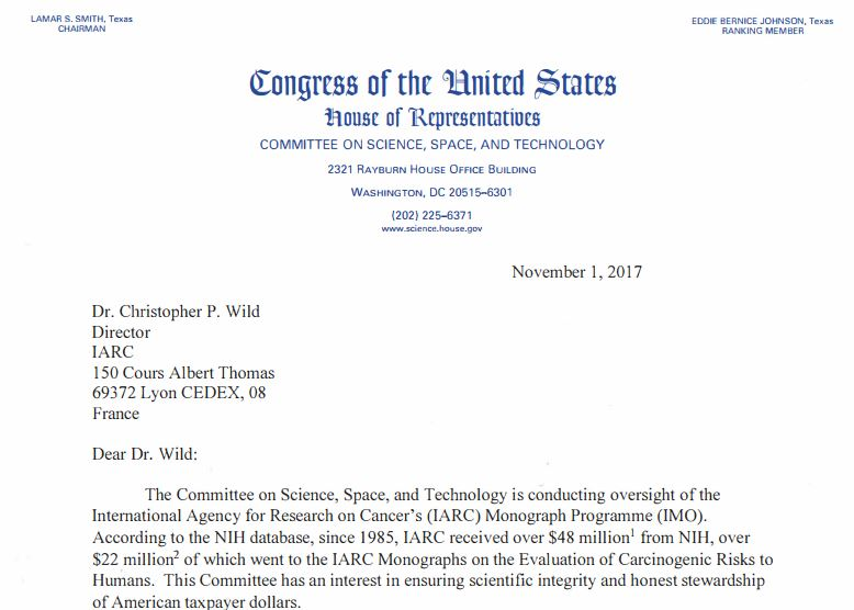 IARC Activism Begins To Unravel - Congress May Be About To Pull