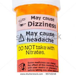 Medicine bottle with warning label
