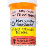 Medicine bottle with warning label